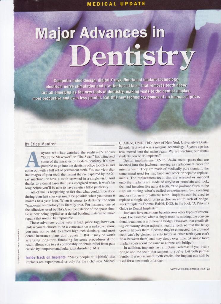 Major Advances In Dentistry